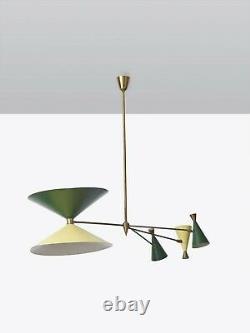 1950 Colorful Diabolo Brass Ceiling Fixture Chandelier Sputnik Stilnovo Italian