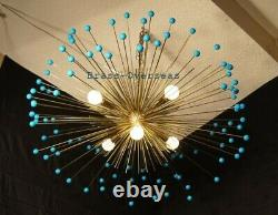 1950 MID Century Urchin Brass Colored Sputnik Chandelier Stilnovo Italian Kalmar