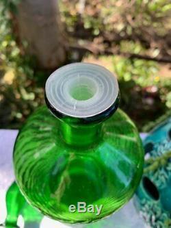 1960's Italian Emerald Green Spiral Glass Genie Bottle