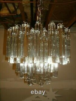 1960's MULTI TIERED CAMER VENINI MURANO GLASS CHANDELIER. 64 6 CRYSTALS. NICE