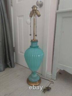 1960's Murano Hand Blown Ribbed Turquoise/Seafoam Seguso Glass Lamp by MARBRO