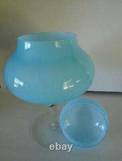 1960's Murano Italian Empoli cased Glass Apothecary Jar Teal Blue 13 Large