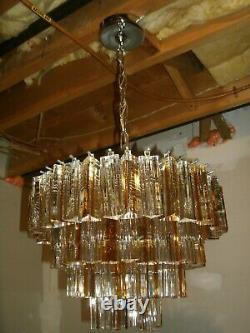1970's Murano Glass Venini Clear And Amber 88 Crystal Chandelier