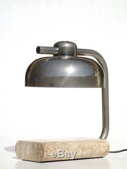 1970s Italian Design by Paolo Salvi Travertine Marble Vintage Table Lamp