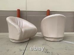 1980s Vintage Natuzzi Italian Leather Rolled Arm Lounge Plinth Swivel Chairs