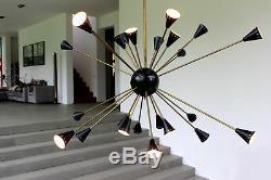 1of2 OVERSIZED STILNOVO SPUTNIK 24 Lights Chandelier Brass & Black Pearl 1950s