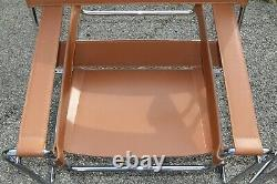 2 Beautiful Chairs Cognac Wassily B3 chairs by Marcel Breuer, Rare