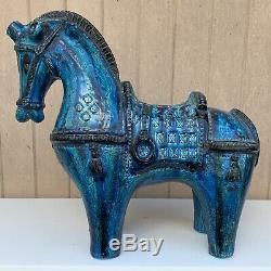 #2 Large Bitossi Aldo Londi Rimini Blue Horse Italian Pottery Mid Century Modern