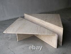 2 Piece Tiered Triangle Post-Modern Italian Travertine Coffee Table