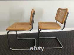 2 Vintage CHROME CHAIRS SET Cesca mid century modern caned italian retro dining