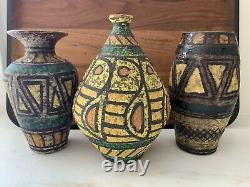 3 Vintage Mid-Century Bitossi Raymor Italian Art Pottery Lava Glaze Vases Group