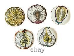 5 Fornasetti Milano Vtg Mid Century Modern Frutta Fruit Plate Coaster Italy