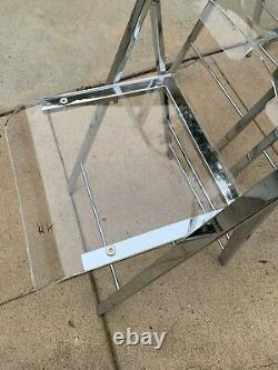 5 Set of Chairs Folding Vintage 1970 Lucite & Steel Chrome