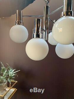 60s 70s Italian Stilnovo Sputnik Chrome White 6 Globe Chandelier Lamp