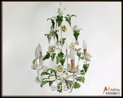 60s Mid Century Italian Enamel Flower Tole Light Hanging Ceiling Lamp Chandelier