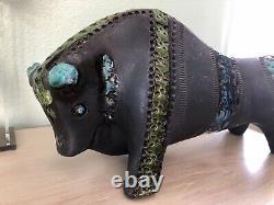 ALDO LONDI LARGE 12 x 6 x 5 Black Blue Green Bull POTTERY BITOSSI ITALY 4527