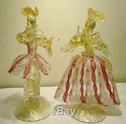 Absolutely Gorgeous Vintage Murano Art Glass Venetian Figurinesman+lady/woman
