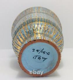 Aldo Londi Bitossi Seta Mid Century Modern Italian Footed Vase Blue Gold Signed
