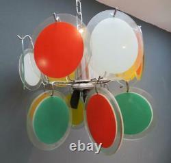 Alexander Calder Inspired 1970's Italian CEILING LIGHT Chrome & Glass Pendant