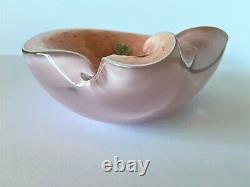 Alfredo Barbini Mid-century Murano Art Glass Pink & Gold Bowl Camer Glass