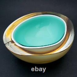 Alfredo Barbini Murano Glass Geode Ashtray Bowl Cased Aqua White Amber Vintage