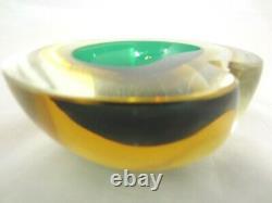 Barbini Cenedese Seguso Poli green amber Murano sommerso art glass geode bowl