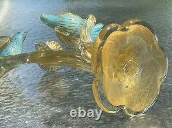Barbini Murano Venetian Blue Gold Flecked Birds on Branch With Nest Sculpture