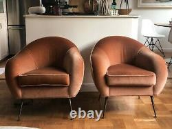 Barneys mohair Italian mid-century modern lounge chairs (pair) by Lucien Roberts
