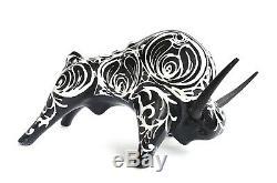 Bitossi Alvino Bagni Raymor Stylized Baroque Glazed Bull with Iron Horns Italy