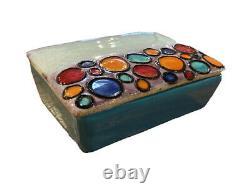 Bitossi Bagni Londi Raymor Vtg Mid Century Modern Rimini Blue Pottery Box Italy