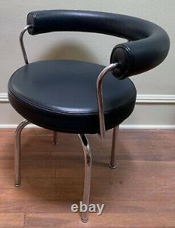 CORBUSIER, PERRIAND Swivel ArmChair, LC7, CASSINA, Drk Gry Leather XLNT, 1970, #1