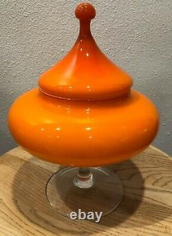 C. 1950s Mid-Century Modern Empoli Cased Glass Circus Tent Apothecary Jar
