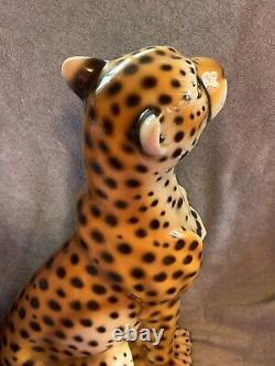 Ceramic Cheetah, Italian, Mid- Century Modern, Hollywood Regency Vintage