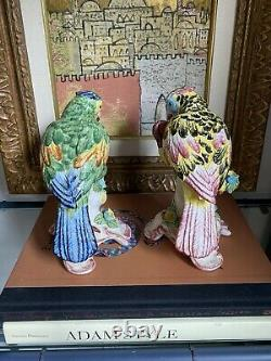 Chinoiserie Chelsea House Ceramic Porcelain Parrot Bird Pair Italy Hand Painted