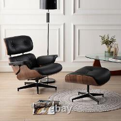 Classic Lounge Chair and Ottoman 100% Grain italian Black Leather sofa recliner