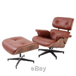 Classic TAN Eame-s Lounge Chair and Ottoman Genuine Italian Leather Walnut