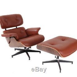Classic TAN Lounge Chair and Ottoman Genuine Italian Leather Walnut