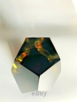 Flavio Poli Seguso Vetri d'Arte Murano Italy MCM Sommerso Faceted Art Glass Vase