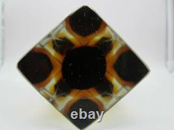 Flavio Poli large brown & amber Sommerso diamond faceted Murano art glass vase