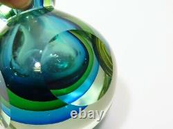 Formia Italian Murano Sommerso Glass Faceted Vase Scent Bottle Blue Green Heavy