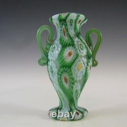 Fratelli Toso Millefiori Canes Murano Green Glass Vase