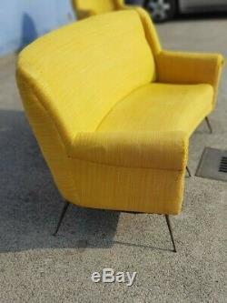 GIGI RADICE Gio Ponti Mid century Set Sofa, Pair Lounge chairs foots brass italy