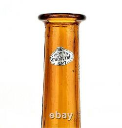 GUILDCRAFT Glass Genie Bottle Decanter with Stopper Mid Century ITALY 27 Amber