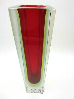 Geometric Murano block vase faceted red blue & glowing green sommerso art glass