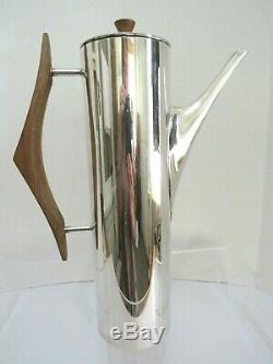 Gio Ponti Mid Century Modern Silver Plated Metal & Teak Coffee Pot