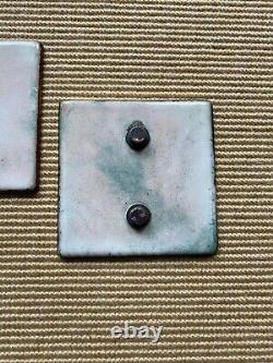 Gio Ponti for PAOLO DE POLI Green enamel door handle square Italy 1960s