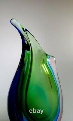 Gorgeous Murano Multiple Sommerso Style Rich Colour Glass Art Vase Home Decor