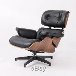 HIGH-END 100% Italian Leather Lounge Chair & Ottoman Mid-Century Walnut Black