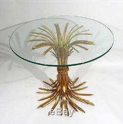 HOLLYWOOD REGENCY MID CENTURY ITALIAN D'ORO WHEAT SHEAF SIDE TABLE BASE 1950s