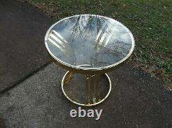 HTF MILO BAUGHMAN Style Round Brass + Glass End/ Side Table MCM Morex